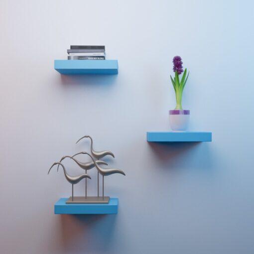 set of 3 small wall shelves for home decor skyblue