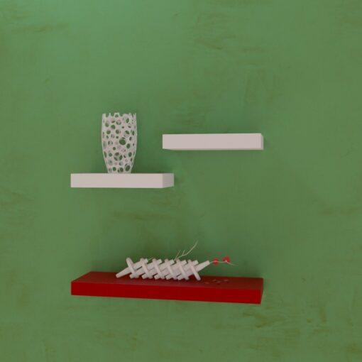 set of 3 wall decor shelves red white