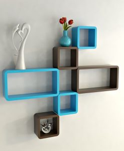 set of 6 cube rectangle brown skyblue wall racks