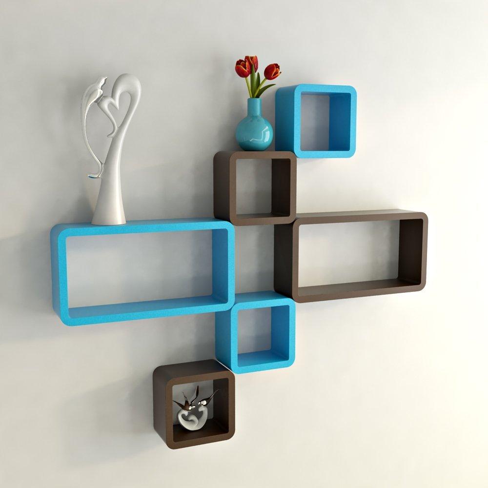 set of 6 cube rectangle brown skyblue wall racks