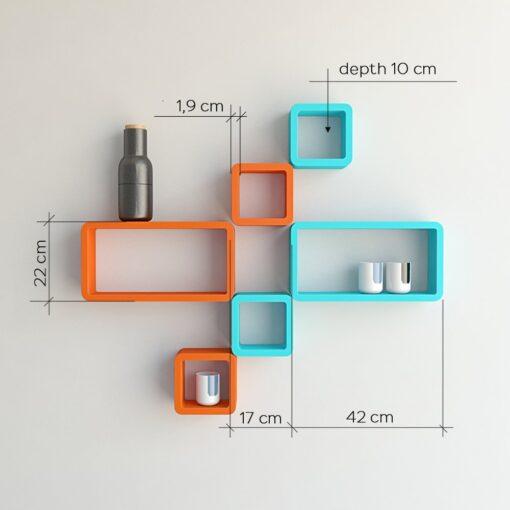 set of 6 decorative wall shelves orange skyblue