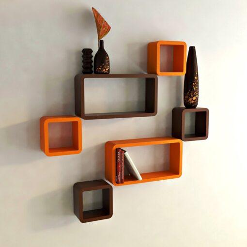 set of 6 orange brown wall mounted shelves