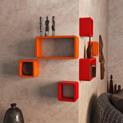 set of 6 orange red wall shelves for home decor