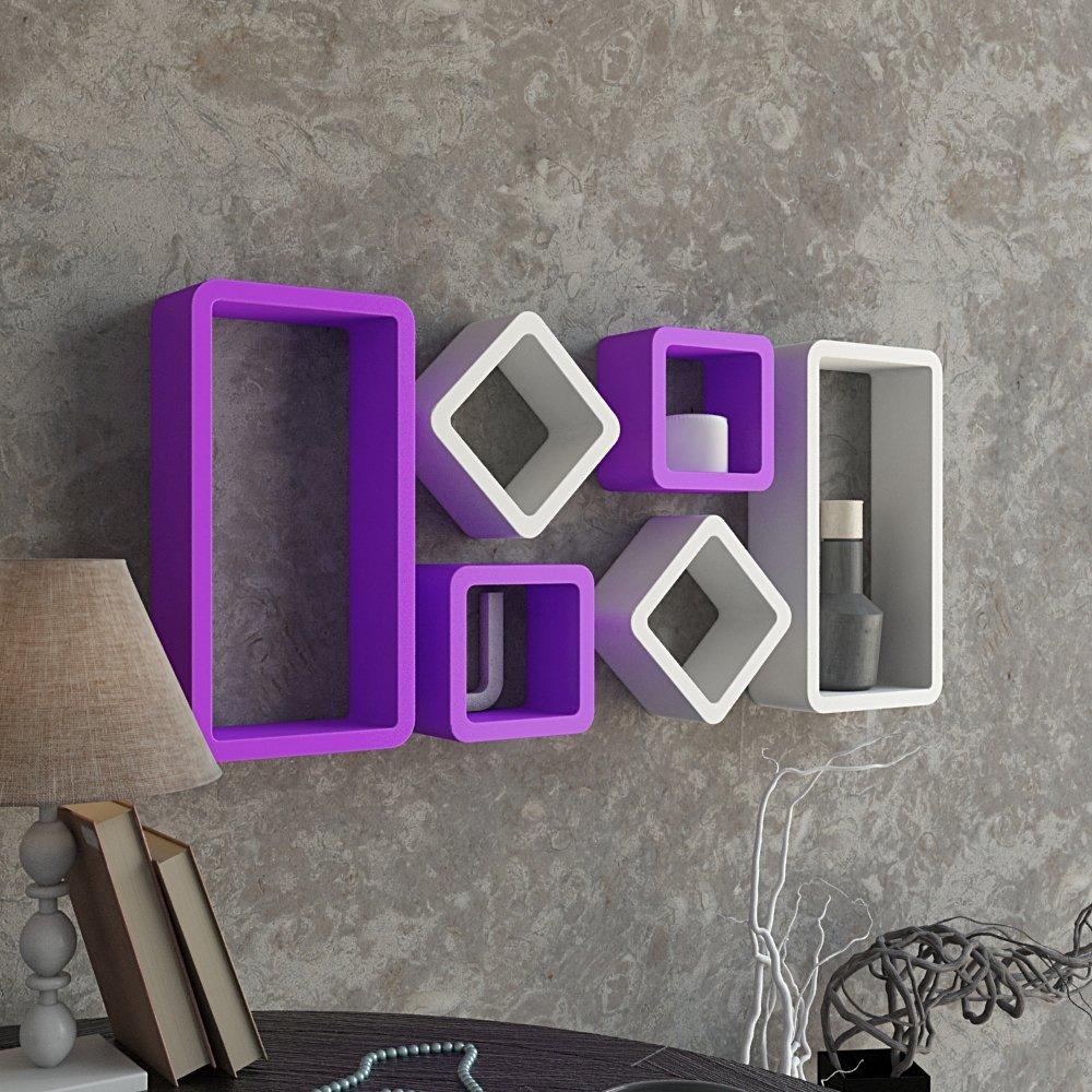 set of 6 storage unit shelf racks purple white