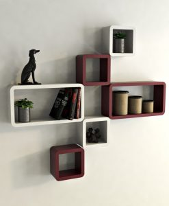 set of 6 wall shelf decor home maroon white