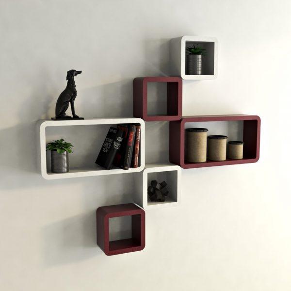 set of 6 wall shelf decor home maroon white