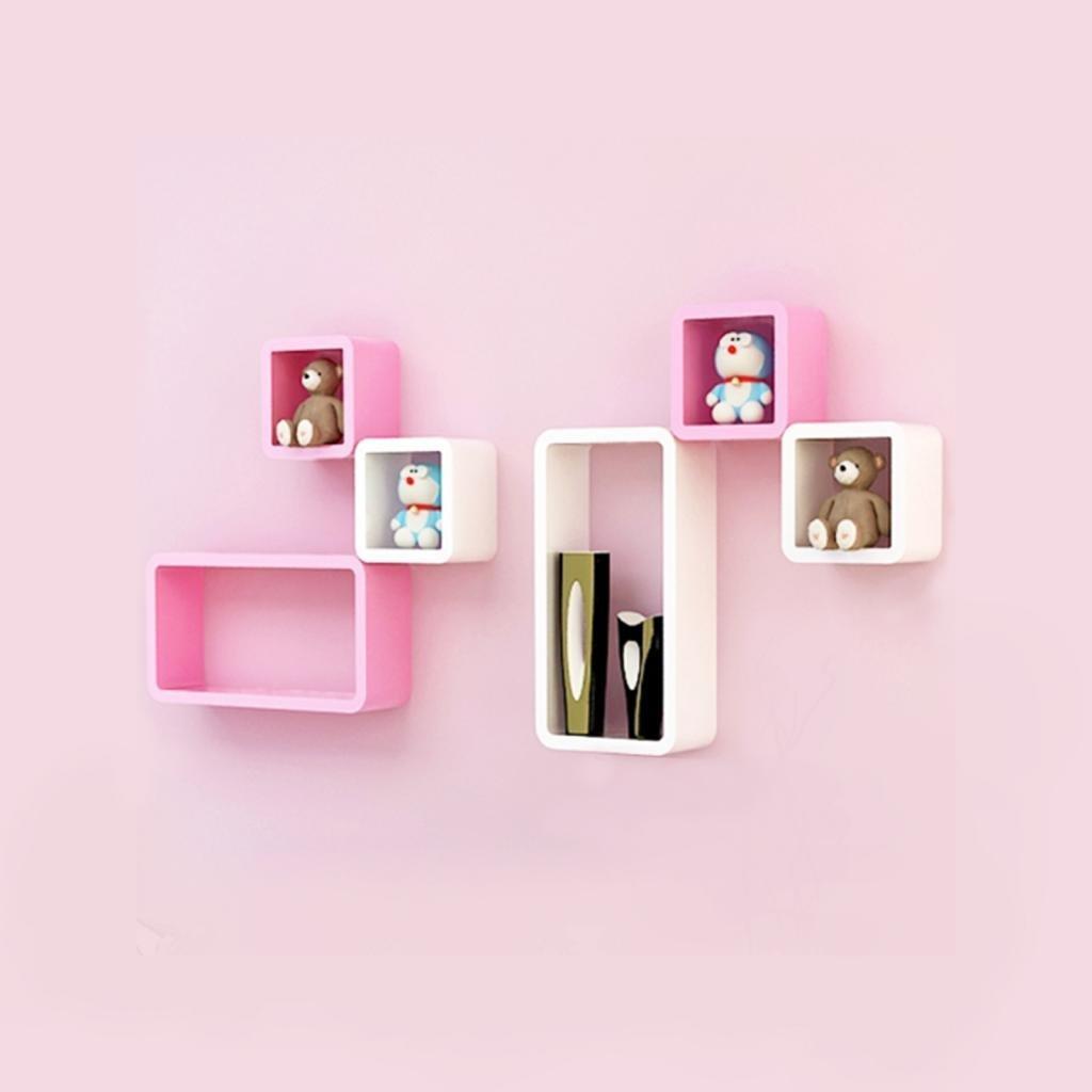 Six cube rectangle wall shelf racks white pink - Cube wall decor ...