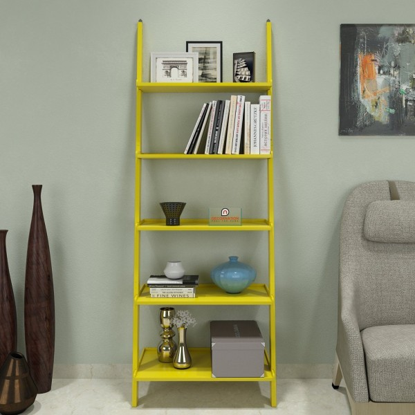single yellow contemporary ladder book shelf
