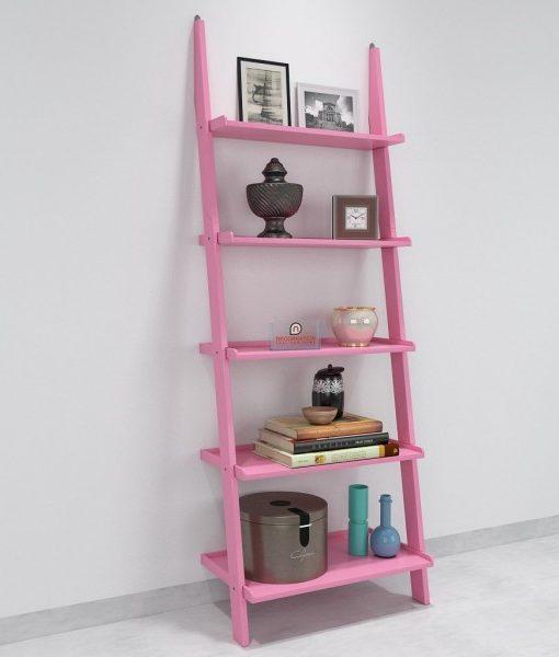 single decorative pink ladder shelf