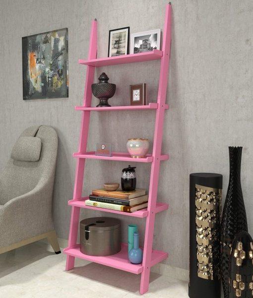 single modern contemporary ladder shelf pink