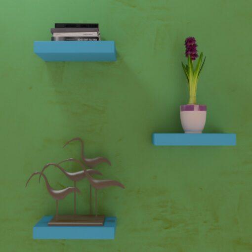 skyblue color wall shelves for wall decor