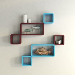 skyblue maroon cube rectangle wall decor shelves