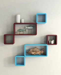 skyblue maroon cube rectangle wall decor shelves