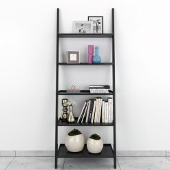 storage leanging bookcase ladder shelf black