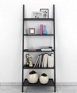 storage leanging bookcase ladder shelf black