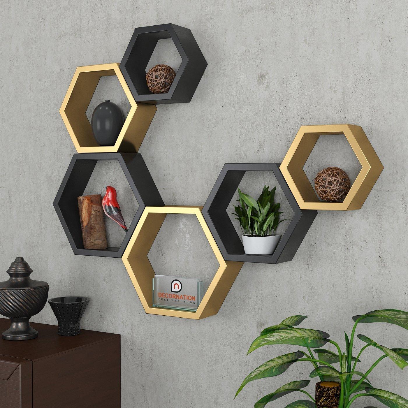 storage shelves in golden black