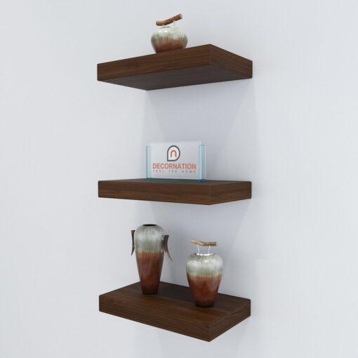storage wall shelves rich walnut
