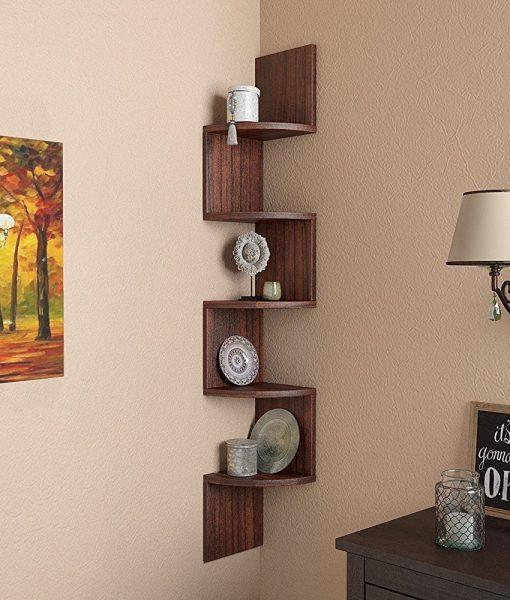 tectona teak corner display wall rack