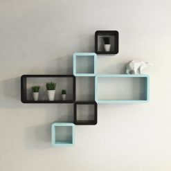 wall decor black skyblue cube rectangle wall shelves