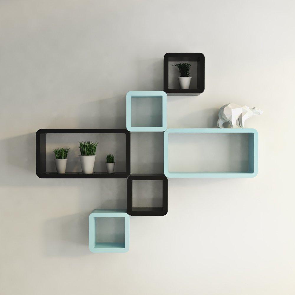 black and sky blue six cube rectangle display wall shelf - wall decor black skyblue cube rectangle wall shelves