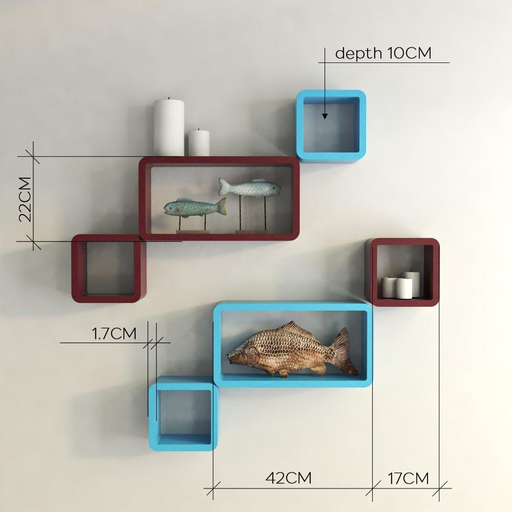 Cube rectangle shelf decorative shelves sky blue maroon - Cube wall decor ...