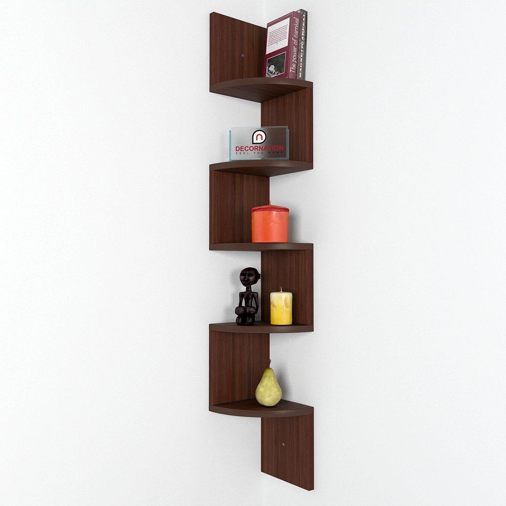 corner shelf zigzag shape 5 curved shelves rich walnut. Black Bedroom Furniture Sets. Home Design Ideas