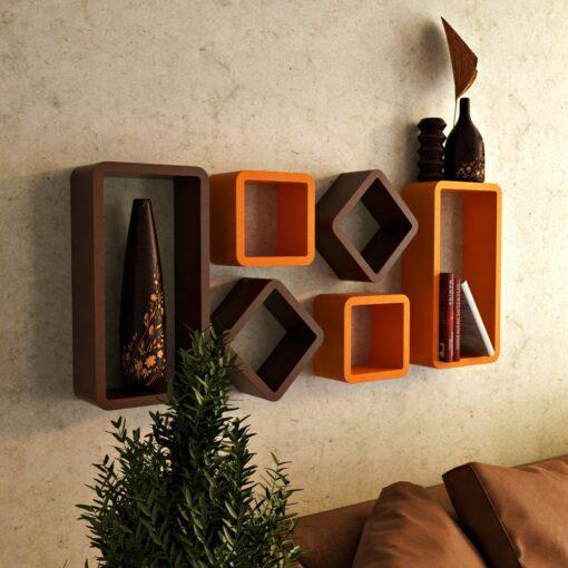 wall shelves online cheap price orange brown