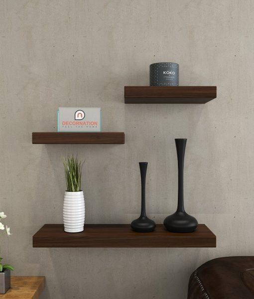 wall shelves unit rich walnut for decor