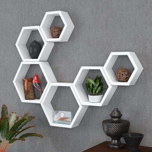 white hexagon shape wall racks set of 6
