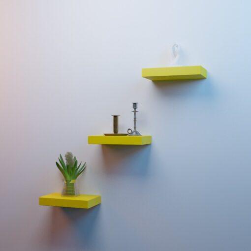 yellow mounted wall racks