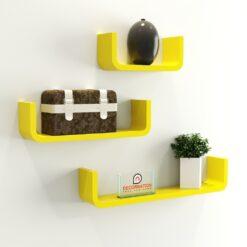 yellow u shape round corner wall racks for bedroom