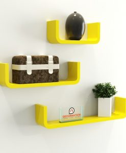 yellow u shape round corner wall racks for bedroom