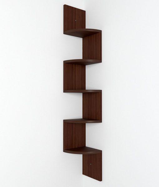 zigzag corner storage display unit rich walnut