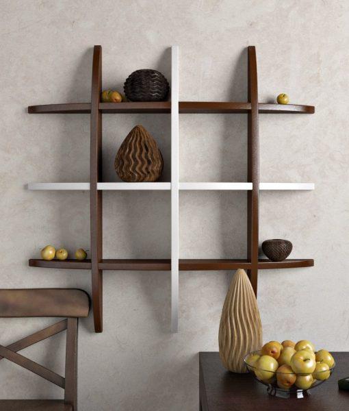 decornation brown white globe shape wall shelf