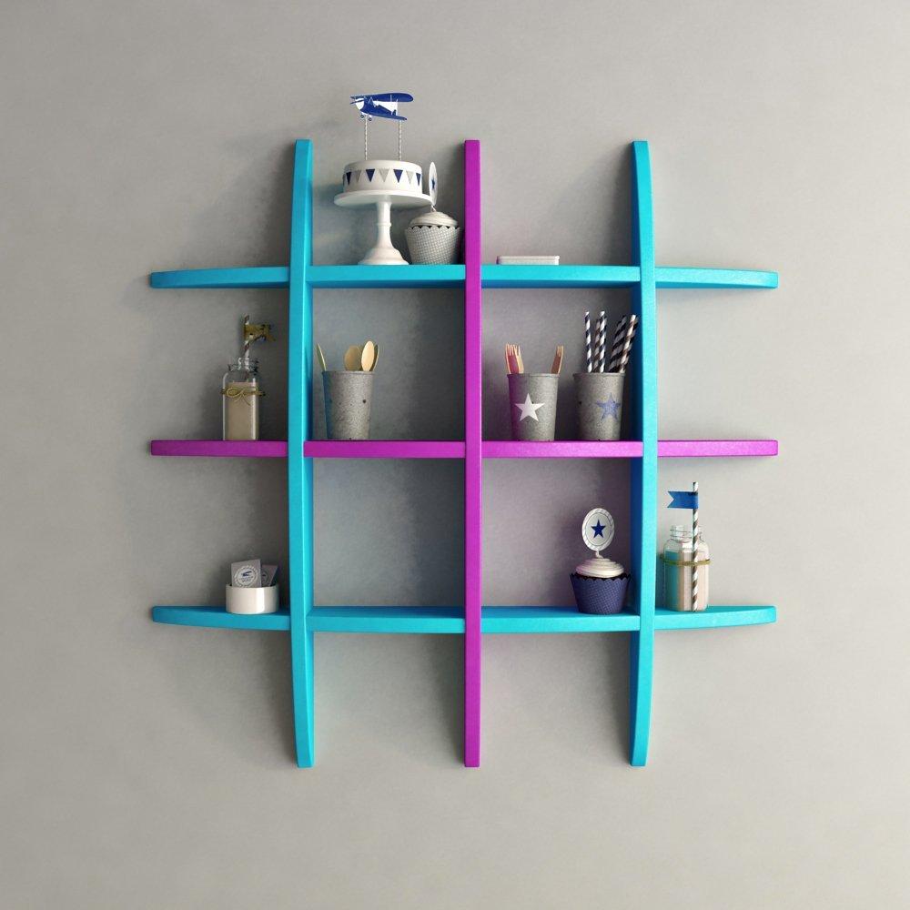 room decor display unit globe shape wall shelf skyblue purple