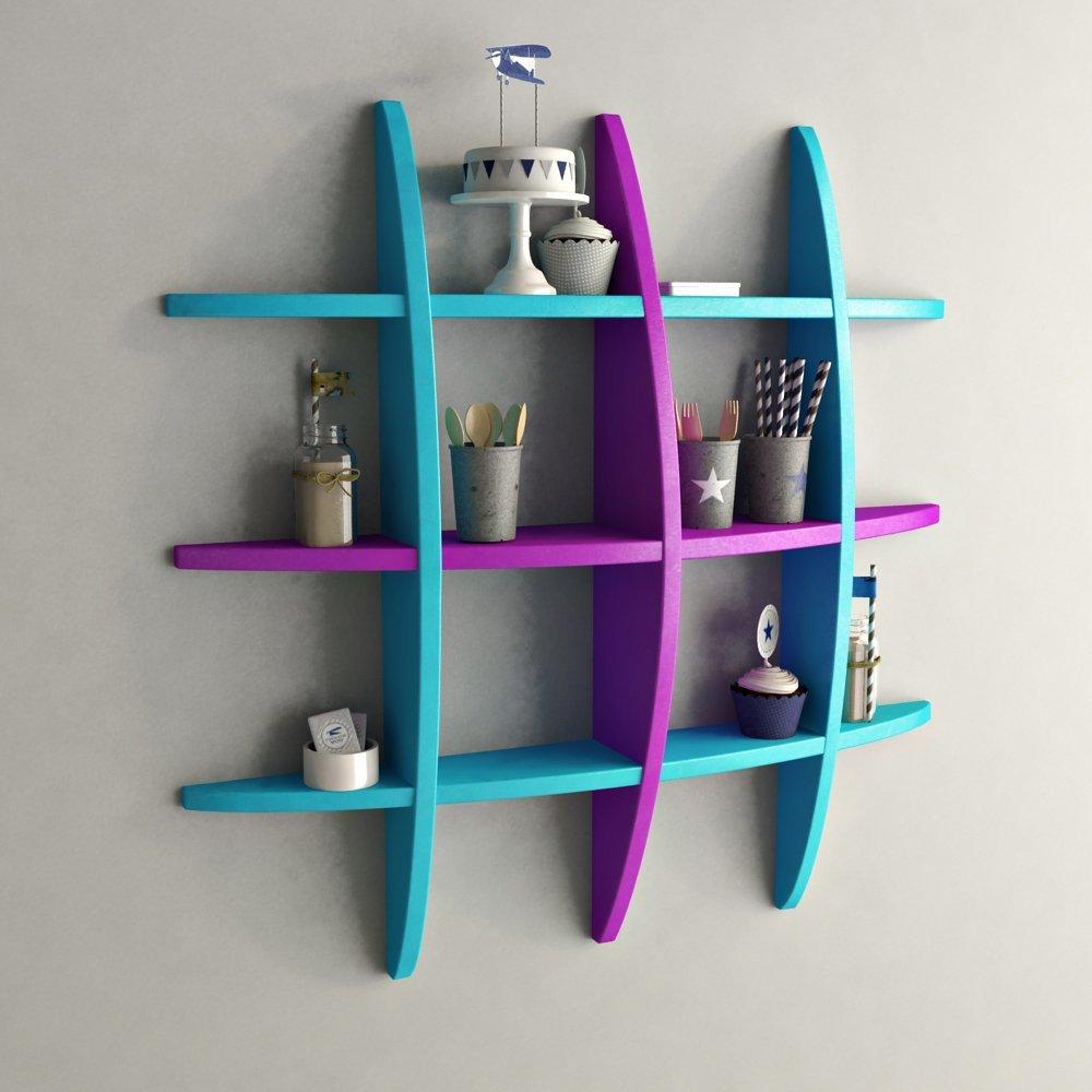 skyblue purple wall decor shelf for home decor