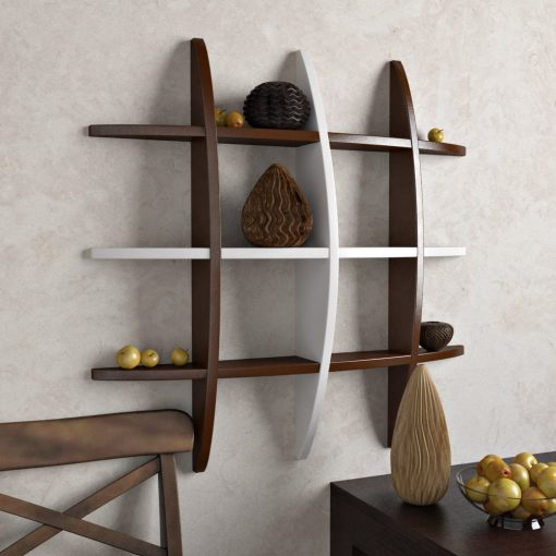 unique display unit wall rack brown white for storage