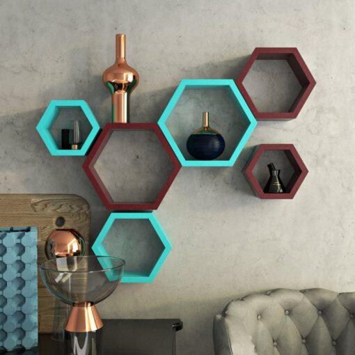 bedroom decor skyblue maroon wall racks for storage