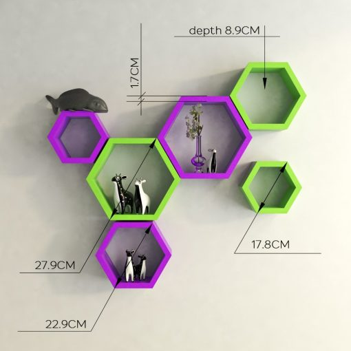 buy decornation hexagon purple green wall shelves online