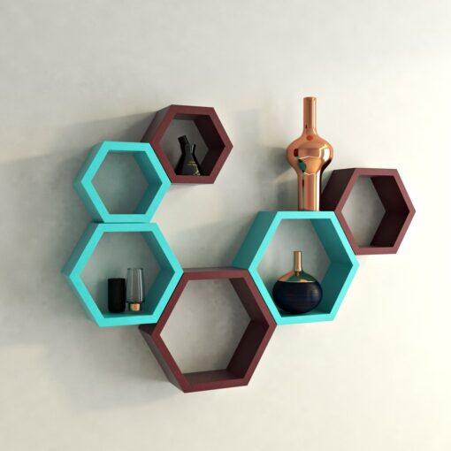 buy decornation hexagon wall shelves for living room
