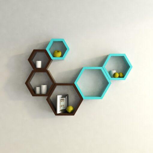 decorative hexagon skyblue brown wall shelves