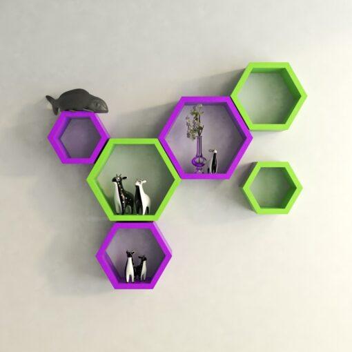 decorative hexagon wall shelves purple green