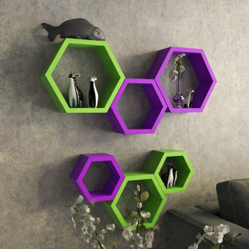 designer hexagon purple green wall shelf brackets