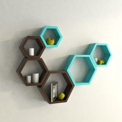 designer hexagon wall shelf skyblue brown