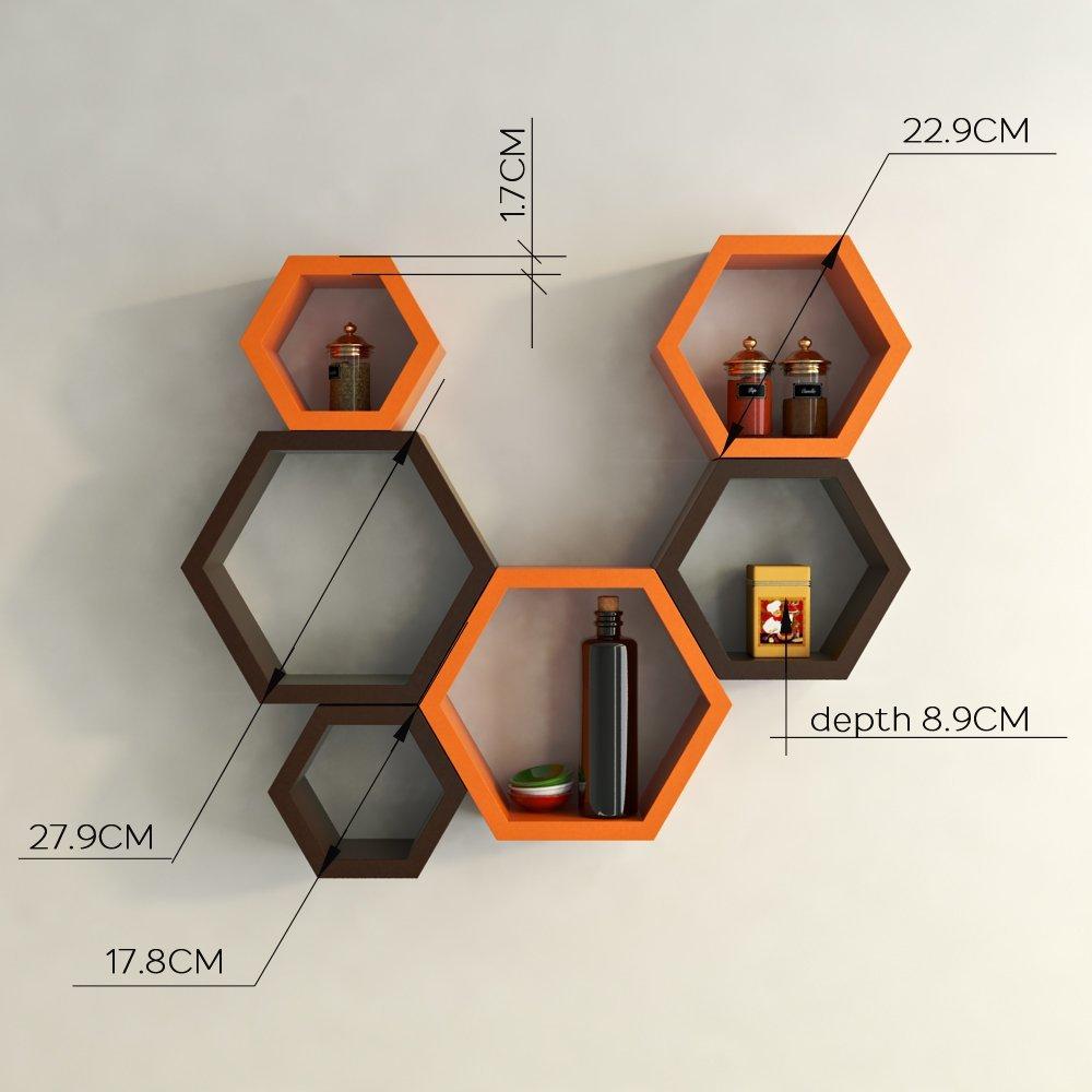 designer wall shelves orange brown for home decor