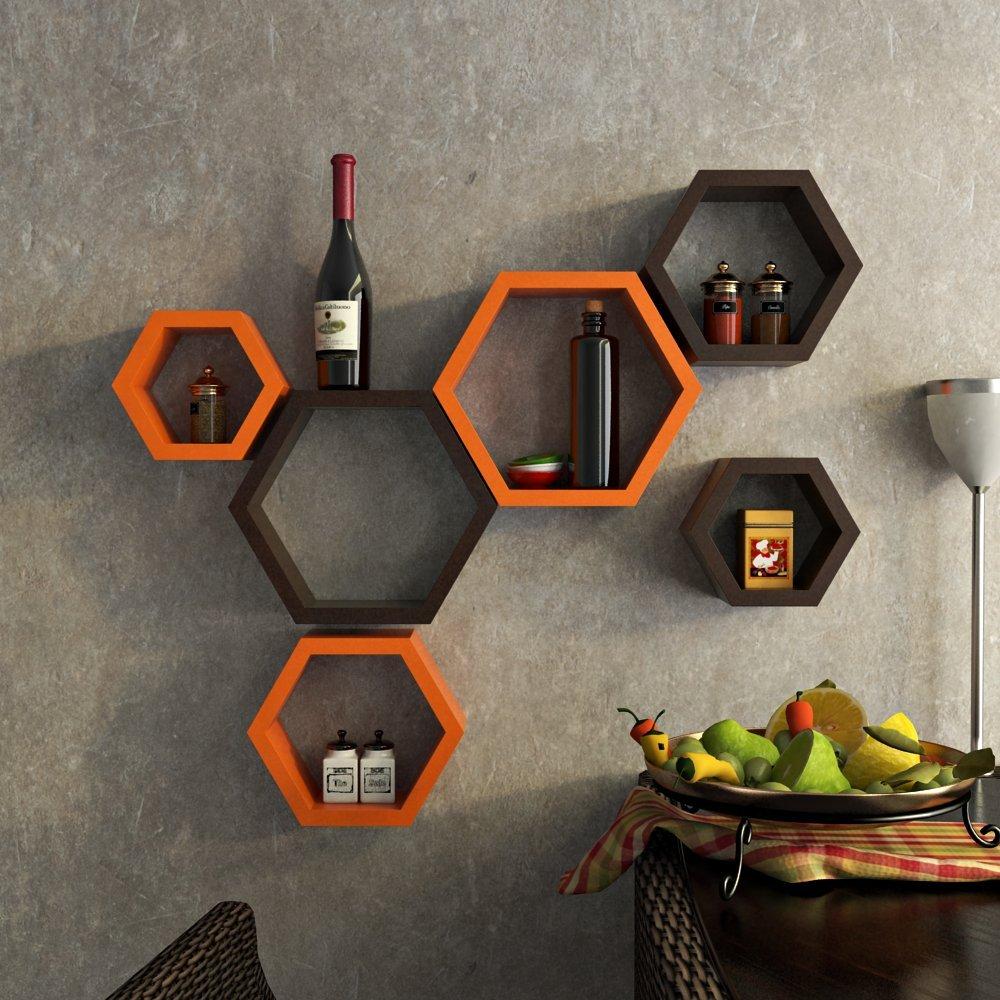 set of 6 decorative hexagon shape wall shelves unit. Black Bedroom Furniture Sets. Home Design Ideas