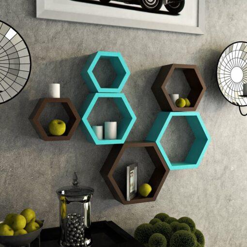set of 6 hexagon skyblue brown wall rack