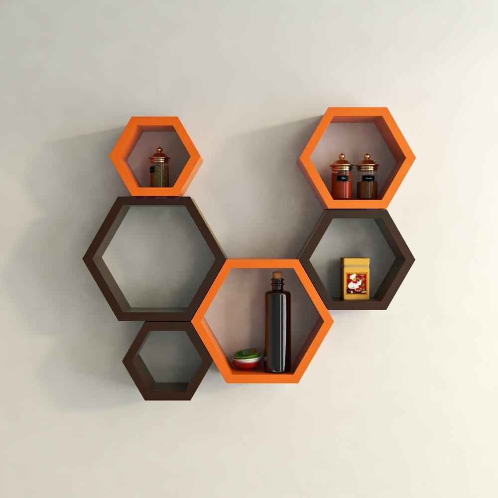 Set Of 6 Orange Brown Decorative Wall Shelves