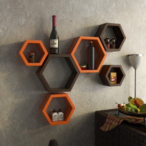 set of 6 wall shelves orange brown