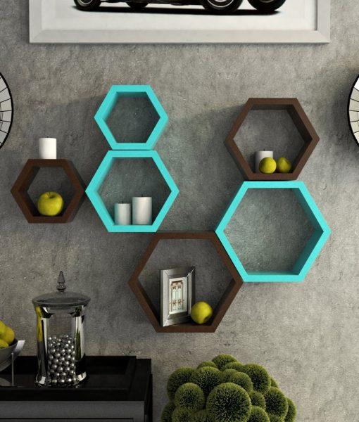 skyblue brown decorative wall shelf brackets